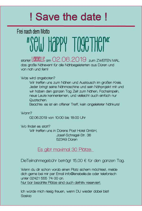 Nähevent SEW HAPPY TOGETHER 2019